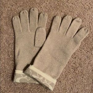 Coach gold shimmery gloves